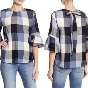 RO & DE Blue Buffalo Plaid Blouse Small